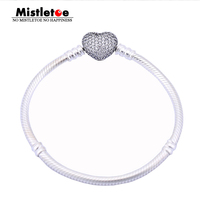Authentic 925 Sterling Silver Original Pave Heart Bracelet, Clear CZ Bracelet Women Snake Chain Fit Eurpeon European Jewelry