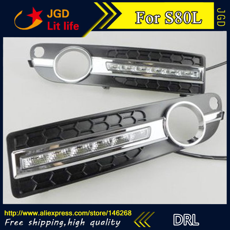 Free shipping ! 12V 6000k LED DRL Daytime running light for Volvo S80L 2006-2013 fog lamp frame Fog light Car styling