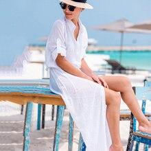 NODELAY 2018 Summer Women Long Chiffon Bikini Cover up Beachwear Pareo Beach Tunic Dress Female Bouton Bathing Suit Kaftan Robe