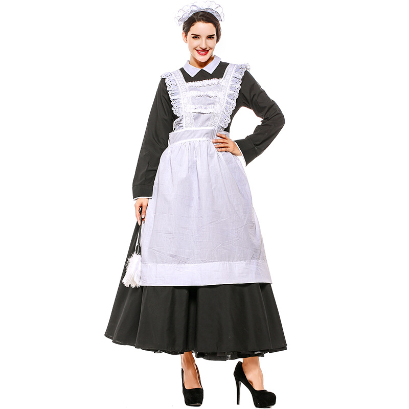 Adult Victorian Maid Poor Peasant Servant Fancy Dress French Wench Manor Costume Outfit