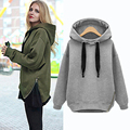Fashion women loose shirt coat jacket long sleeve Side Zipper hooded Drawstring large size plus velvet thick hoodie Sweatshirt