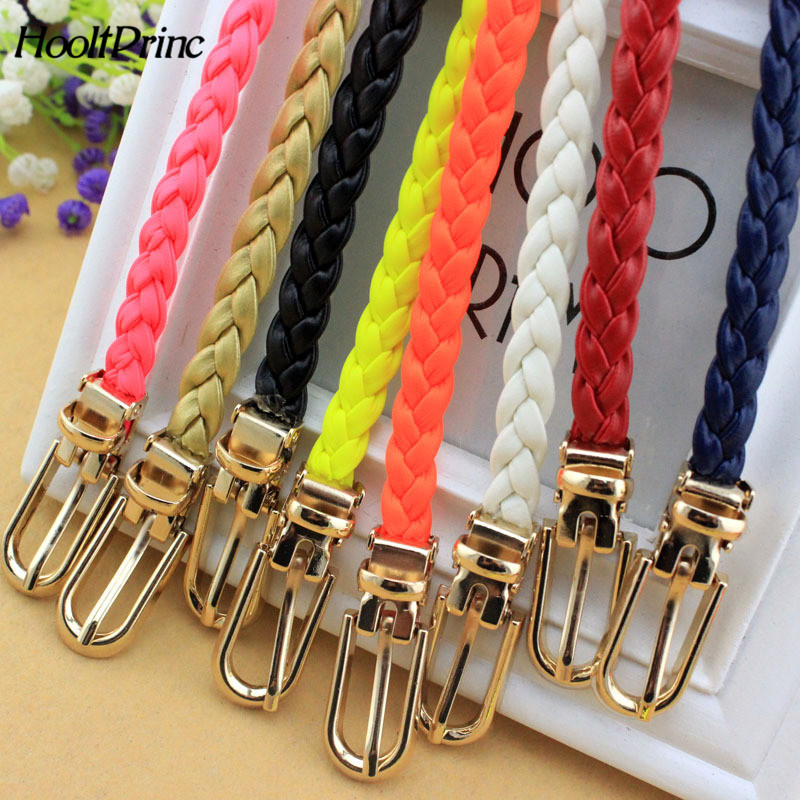Brand2018 High Quality PU Weave   Belt   Womens   Belt   New Style Candy Colors Hemp Rope Braid   Belt   Female   Belt   For Dress