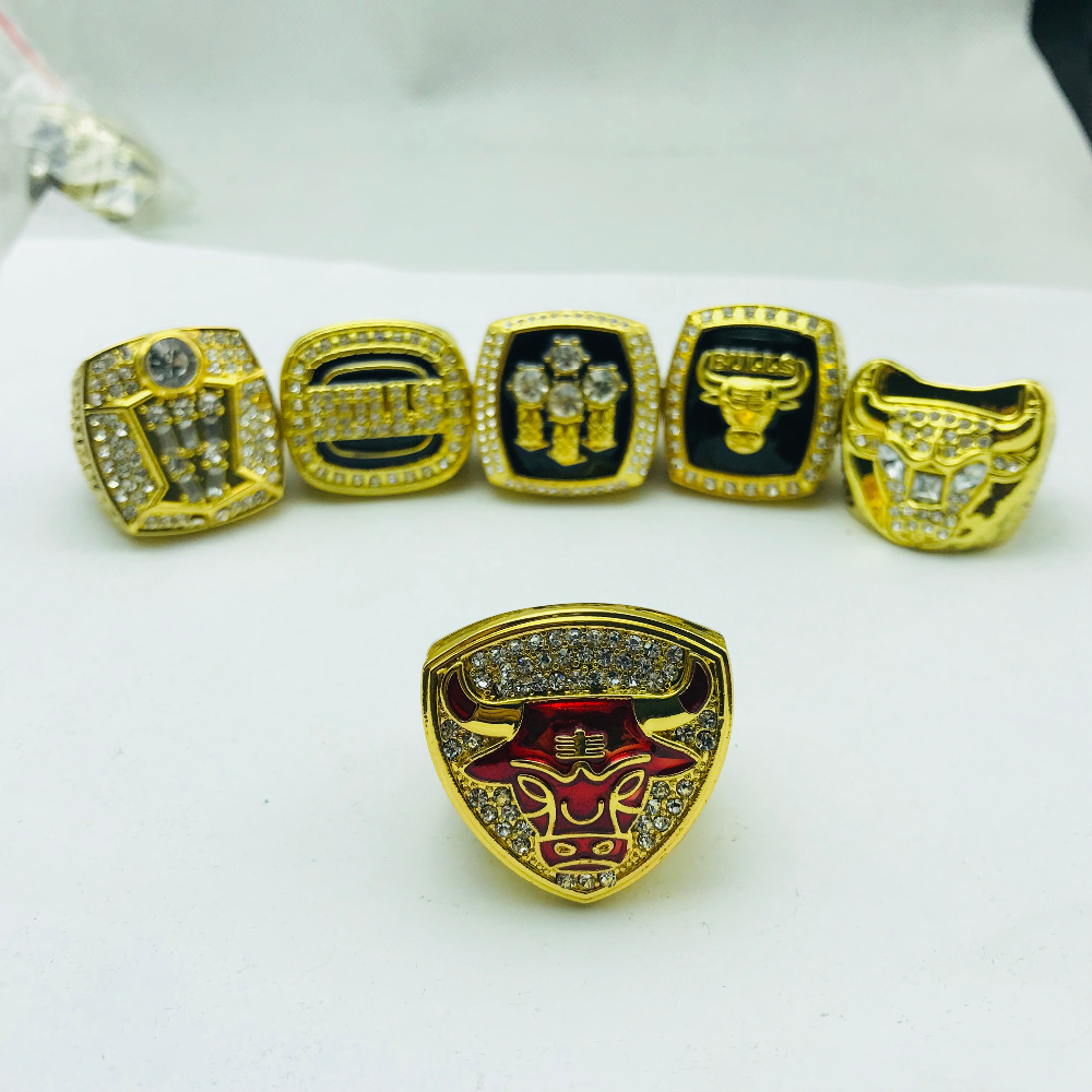 1991 1992 1993 1996 1997 1998 Bllu Basketball replica Championship ring set for men fine jewelry ...