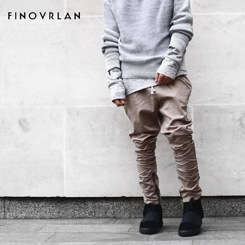 Justin bieber Siyah / Yeşil / Gri / haki yan fermuar harem pantolon - Erkek Giyim - Fotoğraf 1