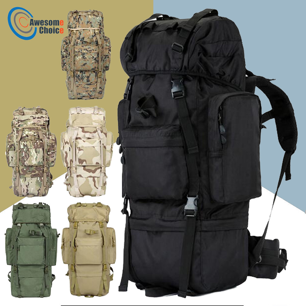 70L Outdoor camping backpack Hiking Climbing Nylon Bag Military Design Sport Travel Package Brand Knapsack Shoulder bags sports travel airsoft tactical knapsack camping climbing backpack 600d nylon hiking hunting vintage military bag camouflage