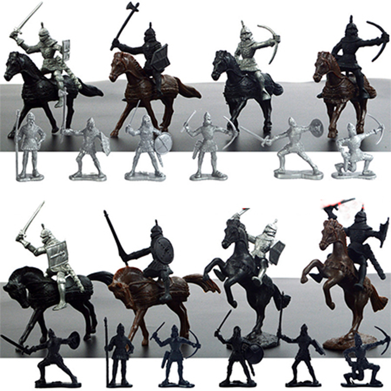 28Pcs/Set Military Soldier Toys Mini 8 Cavalry 12 Infantry 8 War Horse Weapons Model Figures Toys for Children Gifts