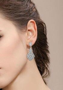 Image 3 - Tuliper Bridal Wedding Earrings For Women Femme свадебные серьги kolczyki Slubne Zircon Party Jewelry 귀걸이 Prom