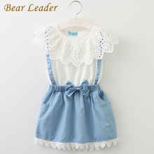 Bear Leader Girls Dresses 2017 New girls cute dress,white belt denim dress sleeveless cotton summer dress lovely girls clothes