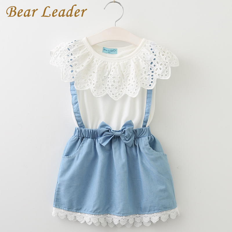 Bear Leader Girls Dresses 2018 New girls cute dress white belt denim dress sleeveless cotton summer dress lovely girls clothes