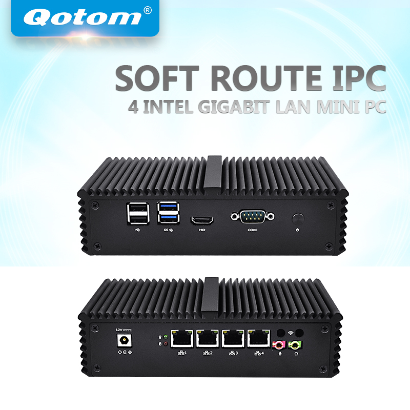 QOTOM 4 LAN Mini PC with Core i3-4005U / i5-5250U processor and 4 Gigabit NIC, support AES-NI, Serial, Fanless Mini PC PFSense fiscal end aluminum fanless embedded computer with i3 3217u 6com 4g ram onboard 2 intel lan support wake on lan dual 24bit lvds
