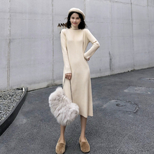 Basic Knitted Midi Dress Women Autumn Winter Korean Chic Turtleneck Black Dress Elegant Apricot All-match Long Sleeve Robe Femme