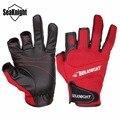Deportivo de cuero guantes de pesca seaknight 3 medio dedo transpirable antideslizante guantes de neopreno y pu accesorios de pesca 1 par/lote