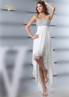 Fashion Girl New Design Robe De Cocktail Party Dresses Sexy Strapless Chiffon Front Short Back Long