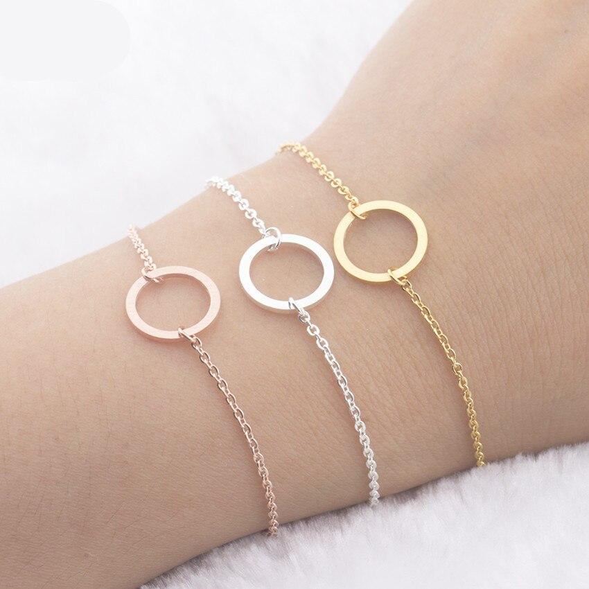 2019 personalidade pulseira minimalista minimalismo karma pulseiras para mulheres rose gold circle rodada amizade pulseira femme romano