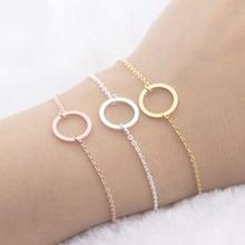 B007S Gold Filled Karma Circle Bracelet & Bangle Body Jewelry Pulseras Stainless Steel Ketting Cuff Bracelets