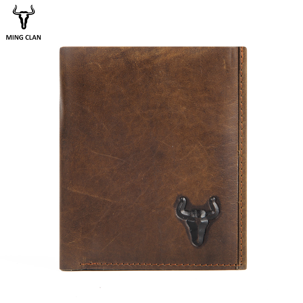 Mingclan Crazy Horse Vintage Designer Genuine Cowhide Leather Men Short Wallet Purse Card Holder Coin Purse Pocket Male Wallets genuine crazy horse cowhide leather men wallets fashion purse with card holder vintage long wallet clutch bag coin purse tw1648