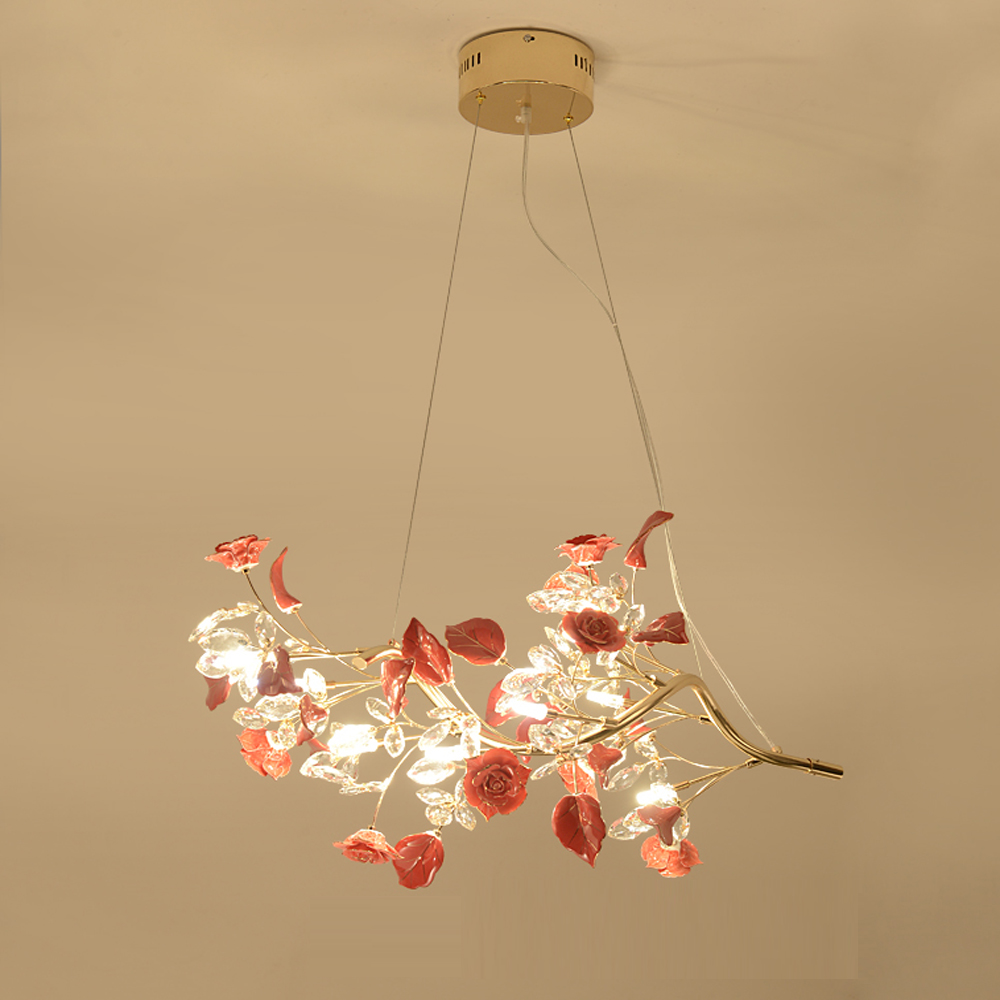 beautiful design red crystal chandelier dinning room light fixtures bar light length 88cm