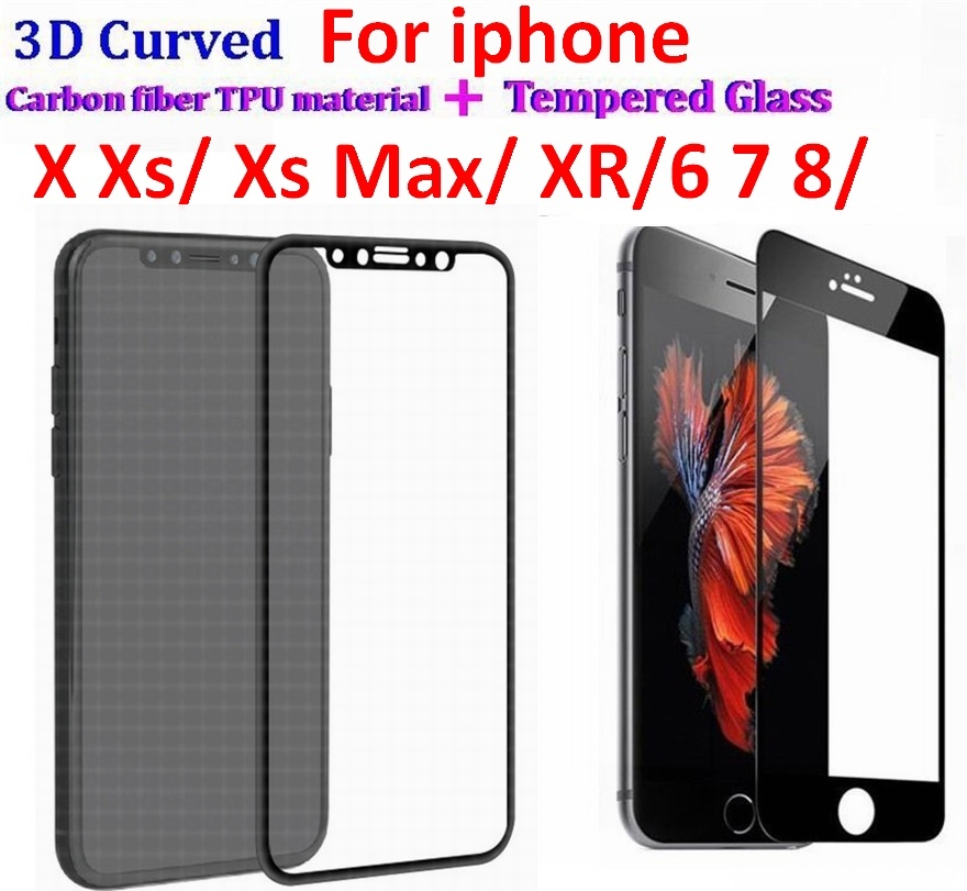 200Set 3D Curved Full Cover Tempered Glass Protector flim Carbon Fiber Soft edge Flim For iPhone