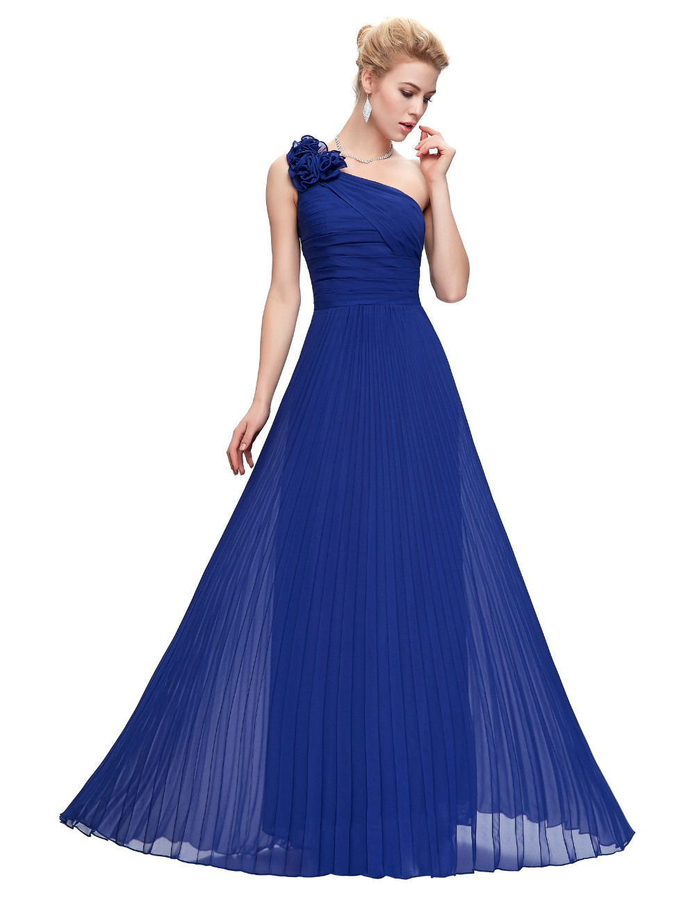 Grace Karin Chiffon Long Evening Dress One Shoulder Pleated Red Green Purple Royal Blue Formal Evening Dress Party Gowns 2018 6