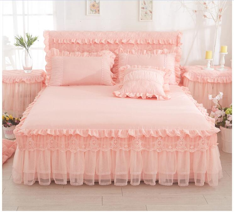Kids Adults Lace Cotton Princess Bed Skirt Twin Full Queen King Size Bedsheet Bed Cover Bed Linen Pillowcases Couverture De Lit