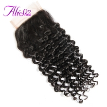 Alishes Hair Malaysian Curly Lace Closure 4*4 Free Part Bleached Knots Non-Remy 100% Human Hair Natural Black Color Can Be Dyed