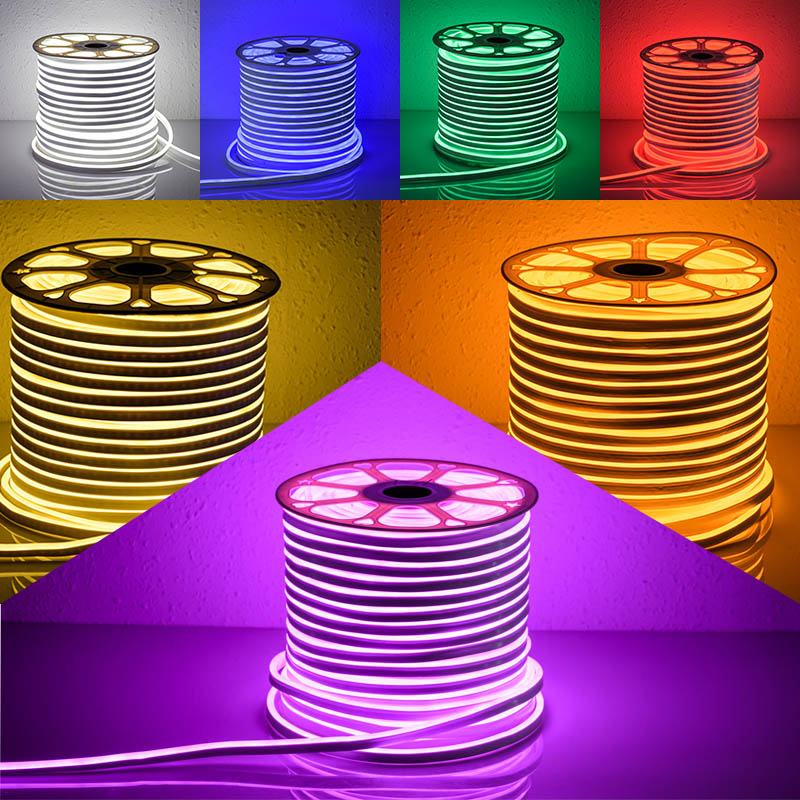 vw luminaire 50m neon wire rgb whiter purple candy color led neon sign smd2835 7w m ac110 240v. Black Bedroom Furniture Sets. Home Design Ideas