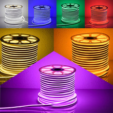 VW Luminaire 50m neon wire RGB whiter purple candy color led Neon sign SMD2835 7w/m AC110-240V stripe ribbon rope