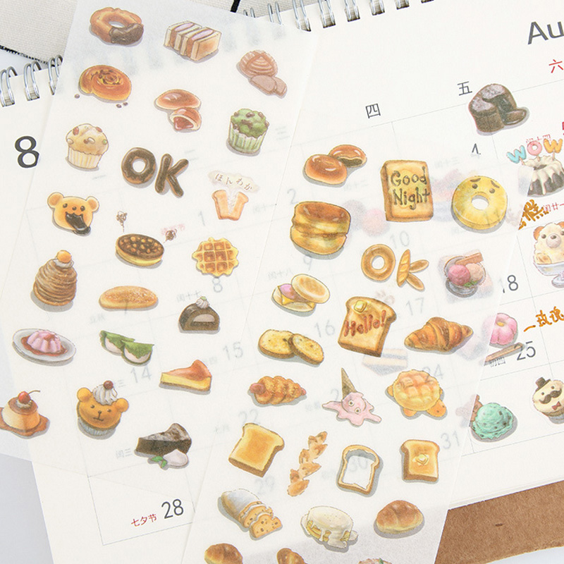 6 Sheets/lot Delicious Food Donuts Paper Sticker Package DIY Diary Decoration Sticker Album Scrapbooking