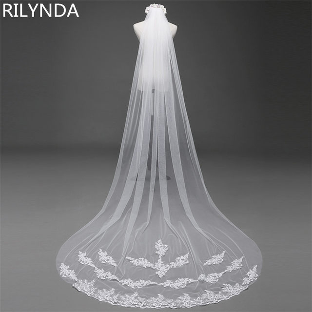 b1af1cad03 3 Meter Cathedral Wedding Veils Long Lace Edge Bridal Veil with Comb Wedding  Accessories Bride Mantilla Wedding Veil