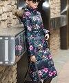 2016 Nueva Llegada de Las Mujeres Abrigo de Algodón de Invierno Femenina Engrosamiento de Impresión cálido Con Capucha Cuello de Piel Larga de Gran Tamaño Chaqueta de la Capa HJ57