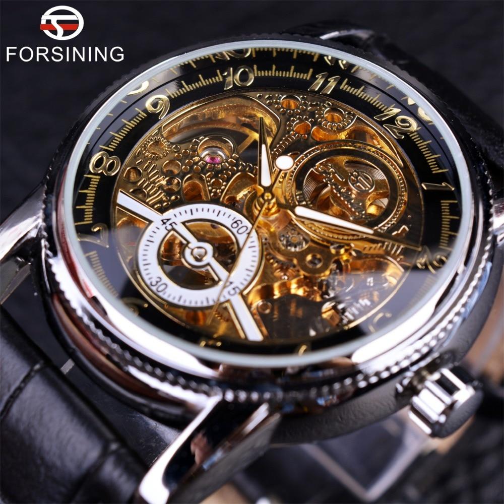 Caixa da Liga Pulseira de Couro Marca de Luxo Forsining Preto Clássico Vermelho Real Genuíno Relógio Automático Homens Militar Relógios Wristvere