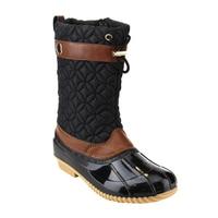 EE07 Women S Mid Calf Drawstring Side Zipper Duck Winter Boots