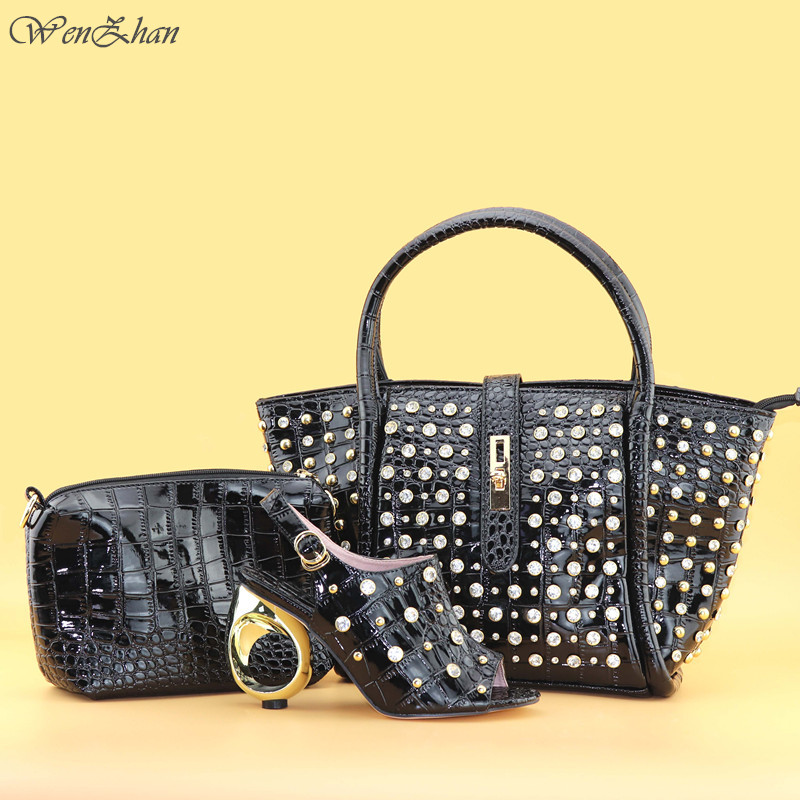 WENZHAN 2018Latest Matching Shoes and Shoulder Bag With Purse Set Attractive Black Color Fashion Shoes and Bag For Women T712-23 cd158 1 free shipping hot sale fashion design shoes and matching bag with glitter item in black