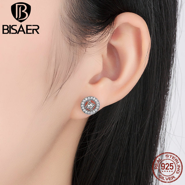 Bisaer Real 925 Sterling Silver Vintage Allure Clear Cz Stud Earrings Women Wedding Jewelry Brincos Weus485