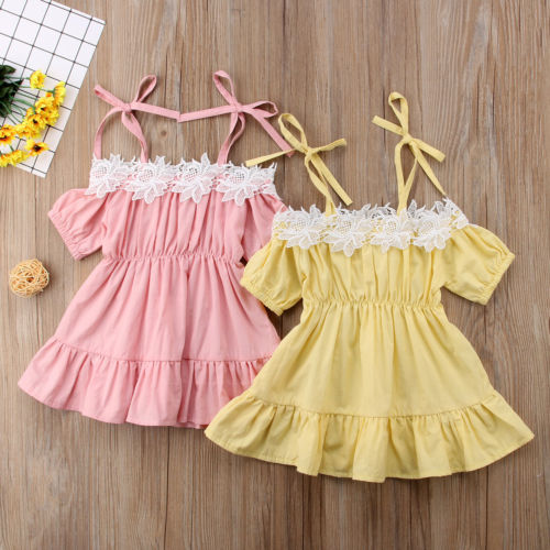 Toddler Kid Baby Girl Clothes Dress Lace Off Shoulder Short Sleeve Princess Ruffle Party Dressess Sundress Baby Girl 1-6TToddler Kid Baby Girl Clothes Dress Lace Off Shoulder Short Sleeve Princess Ruffle Party Dressess Sundress Baby Girl 1-6T
