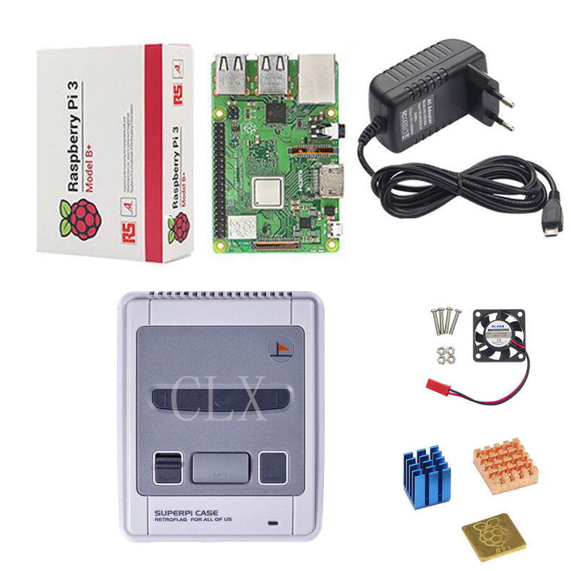 Retroflag SUPERPi CASE-J NESPi Case+ Raspberry Pi 3 Model B/B+ Kits +5V 3A Power Adapter + Heat Sink+fan For Raspberry Pi 3B/3B+