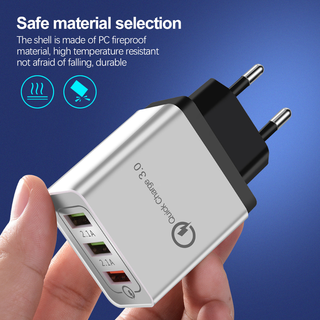 Quick Charge 3.0 Wall Charger 3Port USB EU US Plug for iPad Tablet Phone Quick Charge Travel Adapter Android Fast Charger