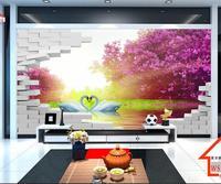 3d טפט סלון טפט ציור קיר מותאם אישית תמונה קיר לבנים אגם ברבורים 3d ציור ציורי קיר קיר מדבקת רקע טלוויזיה ספה