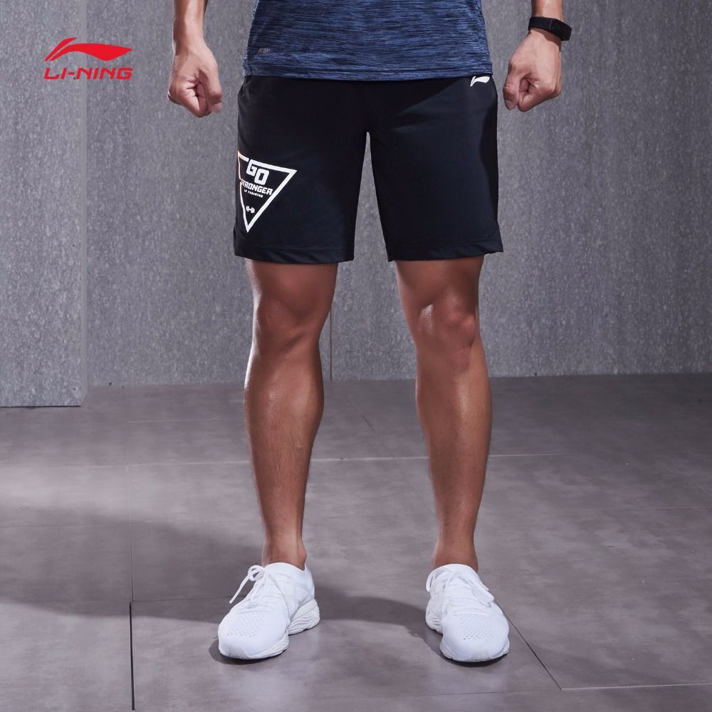 Li Ning Knitted Sport Shorts Men's 2018 New Training Series Men's Shorts Summer Knit Sweatpants AKYN013(China)