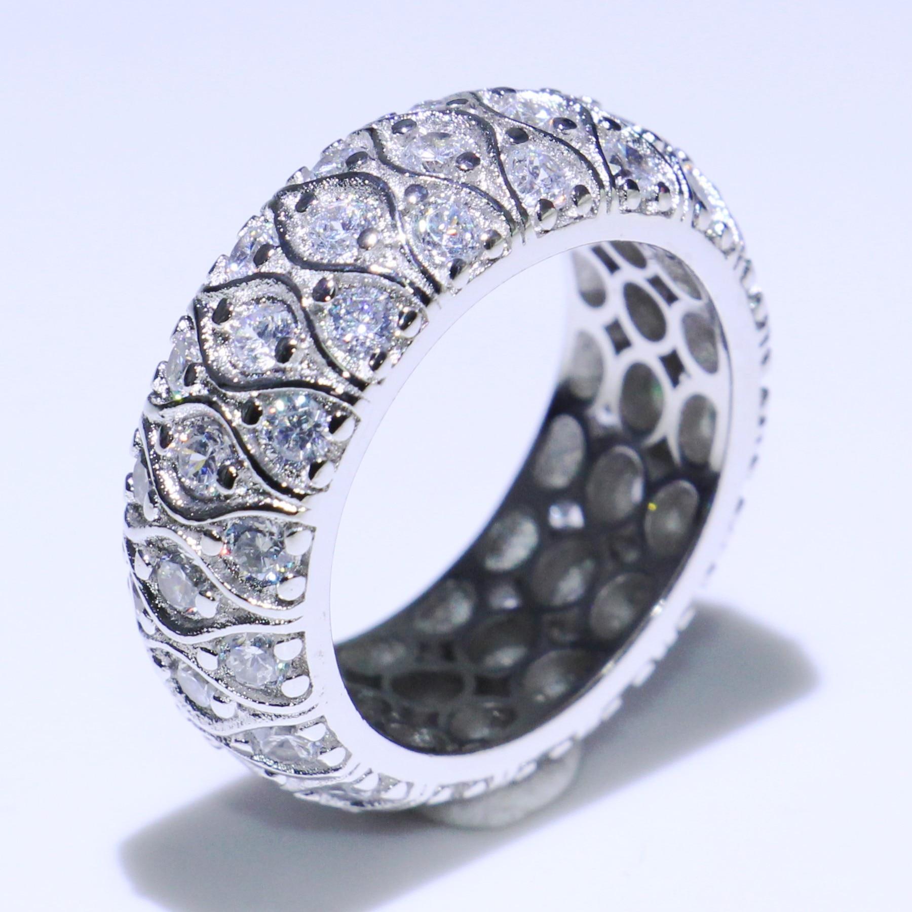 Taille 5-10 Vintage bijoux 925 en argent Sterling cheval oeil 5A blanc clair cubique zircone fête femmes mariage doigt bande anneau cadeau