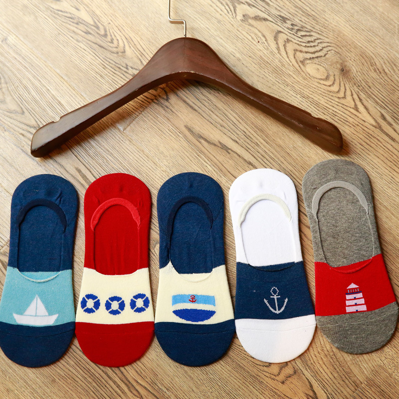 5 Pairs Summer Thin Patterned Boat Sea Men Socks Slippers Art Seamless Invisible Cotton Thin Cool Slippers For Men Cartoon Sox