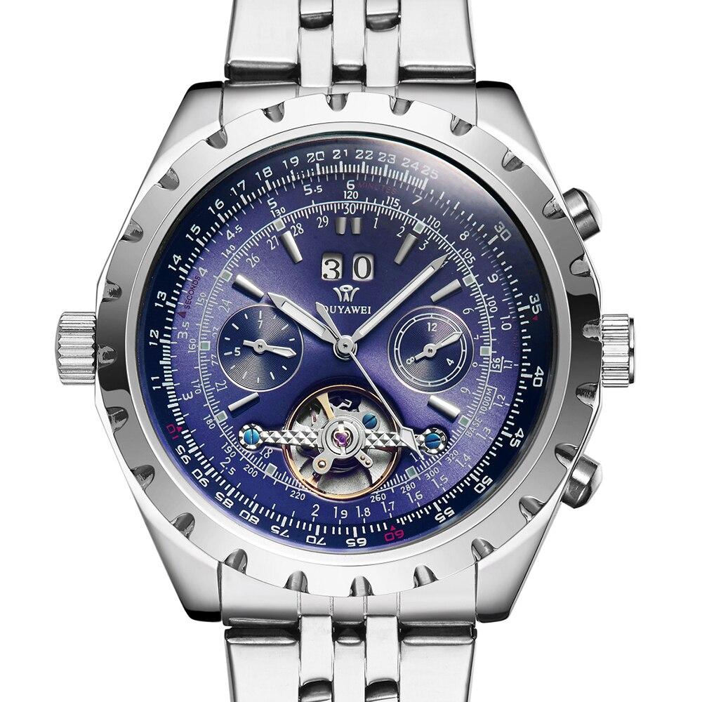 OUYAWEI Fashion Clock Men Auto Day Date Flywheel Mechanical Stainless Steel Wristwatch Tourbillon Automatic Watch Reloj