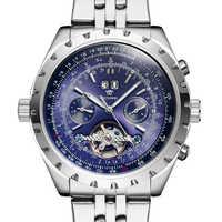OUYAWEI ファッション時計男性自動デイデイトフライホイール機械式ステンレス鋼腕時計トゥールビヨン腕時計自動リロイ Hombre