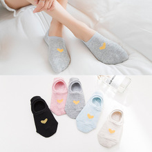 2 Pairs/Lot Women Invisible Sock Spring Summer New Simple Love Models Breathable Heel Cotton Boat 5 Colors