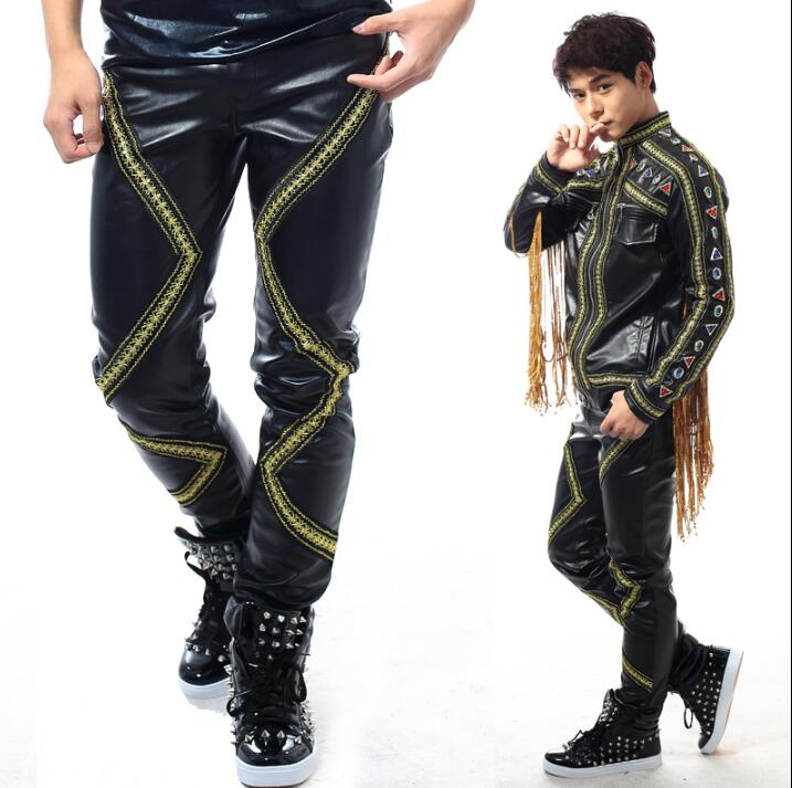 Stage personality novelty printing men pants motorcycle leather pant men feet trousers singer dance rock fashion pantalon black in Casual Pants from Men 39 s Clothing
