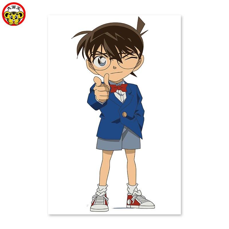Short black hair, wearing glasses boy Conan DIY digital painting Draw on the cloth