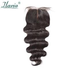 ILARIA HAIR Brazilian Human Hair Silk Base Closure Body Wave 4x4 With Baby Hair Bleached Knots Best Quality Silk Top Closure