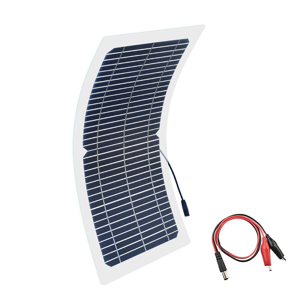 BOGUANG 18 V 10 W kit de panel solar transparente semiflexible monocristalino módulo solar DIY conector exterior DC 12 V cargador