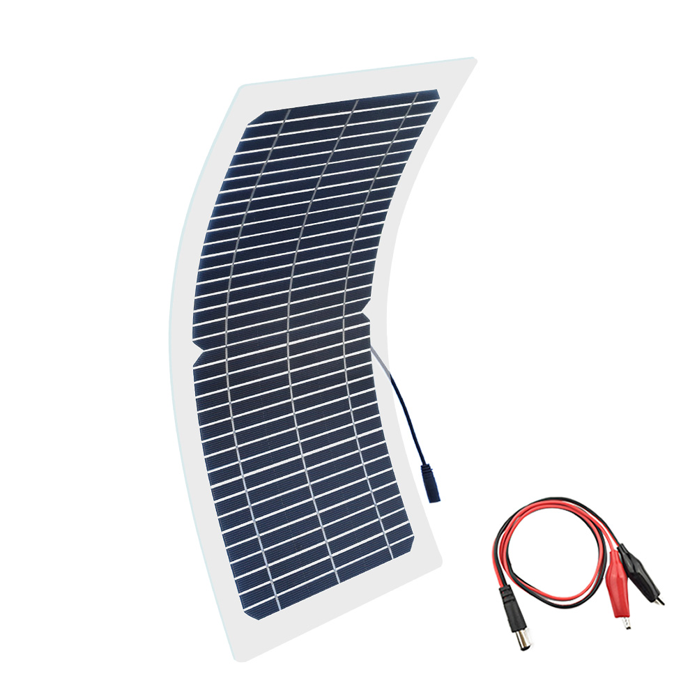 BOGUANG 18V 10w solar panel kit Transparent semi-flexible Monocrystalline solar cell DIY module outdoor connector DC 12v charger image