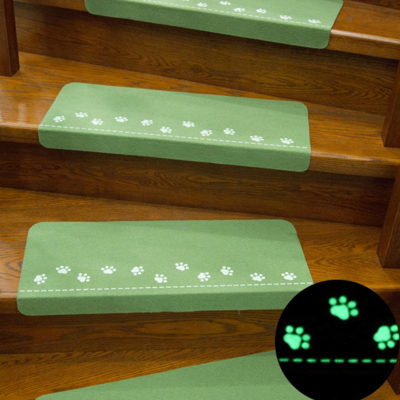 Dark Glowing Home Stairs Non-slip Mats Doormat Footprint Pattern Carpet Floor Night light Mat Safety Children Carpet Home Decor
